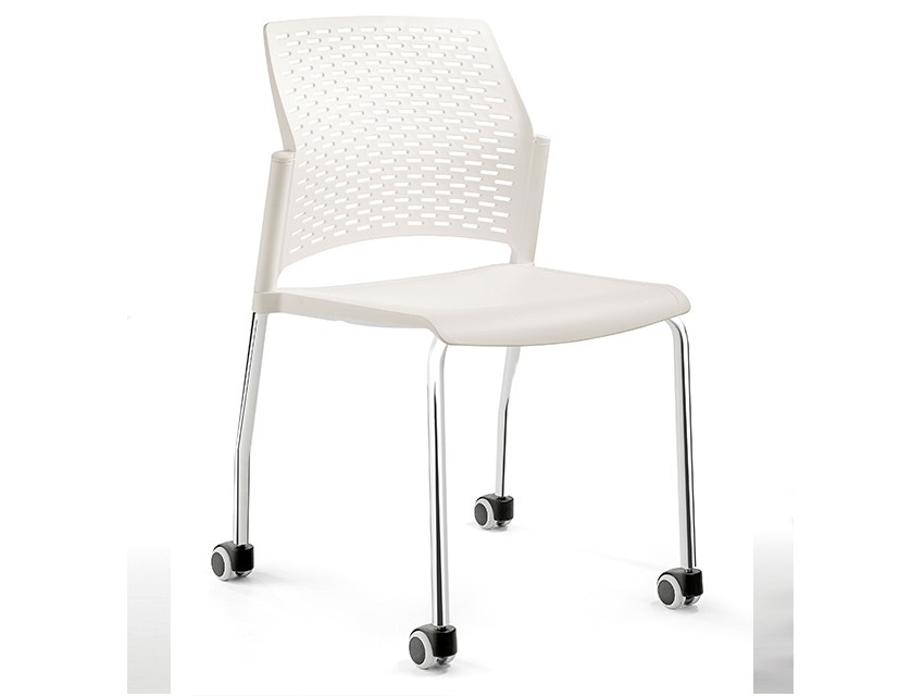 Silla de polipropileno re 570r cromo blanco k mueble for Sillas de polipropileno